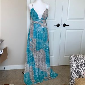 Lulus grey and blue tropical print maxi dress.